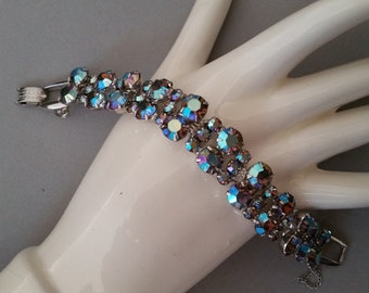 Juliana Five Link Bracelet with Blue AB Rhinestones DeLizza and Elster D and E Figure Eight Puddles Silver Tone