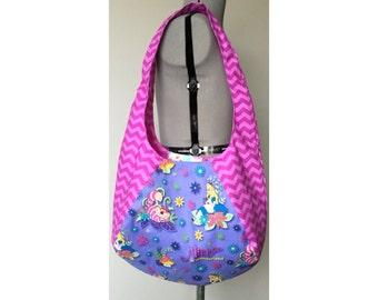 Alice in Wonderland Inspired Large Hobo Bag, Alice, Cheshire Cat