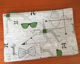 Science Makeup Bag, Makeup Pouch, Pencil bag, Pencil Pouch, Zipper Bag, Zipper Pouch, Glasses, Nerdy