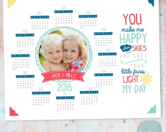 2016 Calendar Photography Template for Siblings  - Photoshop template - GG016 - INSTANT DOWNLOAD