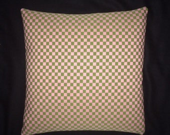 "Checker by Alexander Girard,  Olive/Pink - Maharam - Mid-century Modern design accent pillow 17"" x 17"" feather/down insert included"