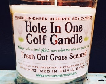 Father's Day Candle- Golf Candle- Grass  Scented Soy Candle- All Natural - 8oz - Dad Father's Day Gifts- Dad Candle Golf Gift hole in one