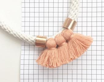 NEW - Harlo Three Tassel Necklace // Dusty Pink
