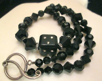 Vintage Black Glass,Rhinestone,Dice Bead Necklace,Channel Set,Hook&Eye Clasp,Various Shaped Glass Beads