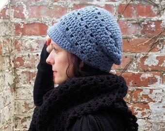 Newsboy beanie hat.Light blue beanie with brim. Crochet hat with brim.Festival beanie hat