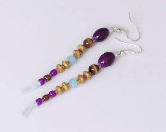 Bohemian earrings glass beads, Long earrings ocher and purple beads