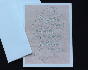 Be Joyful Card in Calligraphy by Larry Orlando