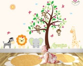 Kids Wall Decal Mural Jungle Decal featuring friendly safari animals swinging monkeys and nursery tree wall decal cute baby wall stickers