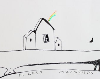 PRINT. Illustration.Nursery. Kids room. Cat.Art. Drawing. Children. Decor wall.