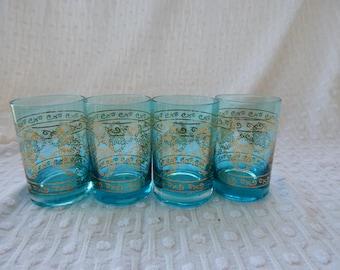 Four Moroccan Blue glasses or votives