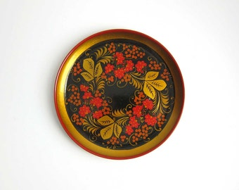 Russian Khokhloma Bird and Berries Lacquer Decorative Plate