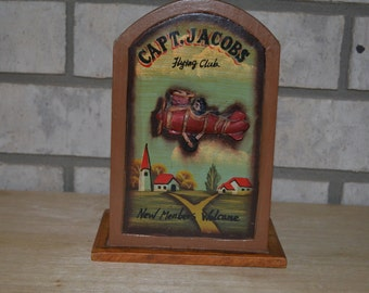 Vintage 3-D Antique Flying Plane Wooden Holder Box