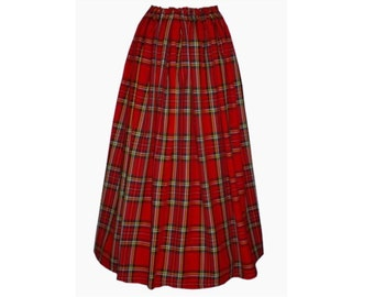 Ladies Victorian / Edwardian costume SKIRT gentry / ball gown fancy dress Sizes 6-32 Royal Stewart tartan
