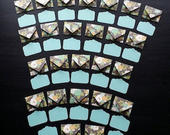 25 Mini Flower Envelopes & Note Tags / Mini Envelopes / Small Envelopes / Gift Tags / Note Tag / Gift Tags / Flower Envelopes / Floral /Tags