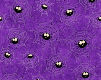 Creepy Hollow Halloween Fabric Happy Spiders and webs on Purple