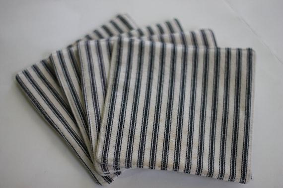 Black ticking stripe  fabric coaster set, set of 4 coasters,rustic farmhouse coasters, hostess gift, housewarming gift