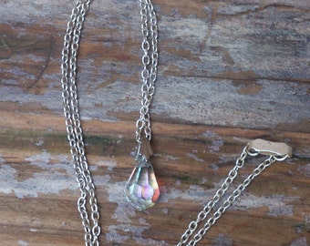 vintage faceted glass drop pendant and chain