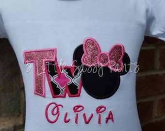 TWO Birthday Shirt, Minnie Mouse Birthday Shirt, Custom Applique Birthday Shirt, Embroidered Shirt, Pink