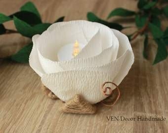 6 Rustic Flower LED Holders, Rustic Barn Wedding Table Decor, Bridal Paper Flowers Decor, Rustic Party Table Centerpiece, LED Centerpiece