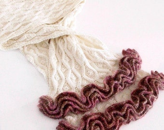 Vintage Style Knitting Pattern Scarf Ruffled Lace
