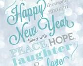 Printable New Years Card - Customizable, Digital File