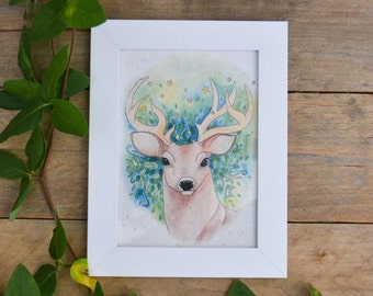 Starry Night - Watercolor Painting Framed Art Print on Handmade Paper - Watercolor Home Decor - Art Print - Deer Art - Watercolor Star