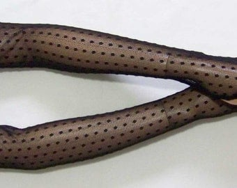 Black, Holiday, Very Long, Gothic Gloves,Dots, Lace, Dance, Fingerless, Women Sleeves with thumb holes. IDEAL for HER