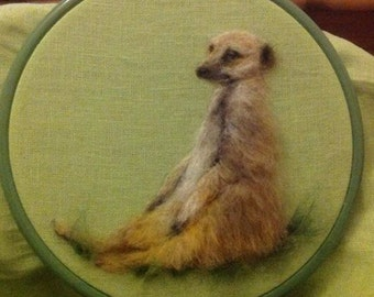 2D Needle Felted Picture Meerkat