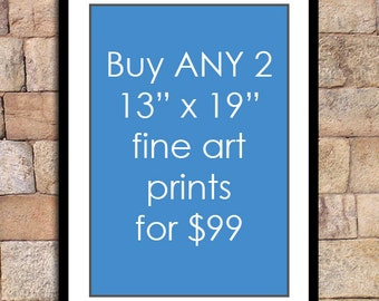 Any 2 - 13x19 prints for this special discounted price - fine art print deal giclee print