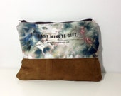 Dyed canvas clutch with suede leather bottom,Hand Painted Zipper Bag,hand dyed clutch, tie dye purse