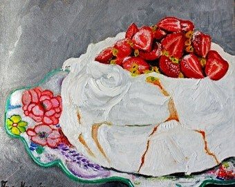 Original-Strawberries art, fruit art, still art, cakes art,  oil painting original, fruit painting, wall art original, colorful art, fun art