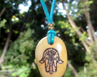 Engraved Natural Beach Stone Sea rock  Pendant Necklace with Hamsa Israel  Protection Evil Eye Unusual gift Israel Judaica Jewelry