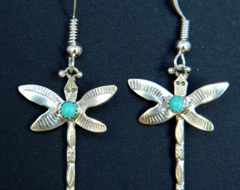Navajo Native American Turquoise Sterling Silver Dragonfly Handmade Earrings Ed Abeyta