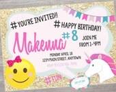Justice Emoji birthday party invitation. printable. digital download