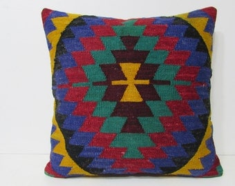 kilim pillow 24x24 euro pillow cover large accent pillow 24x24 cushion cover geometric throw pillow shabby chic furniture patio pillow 28979