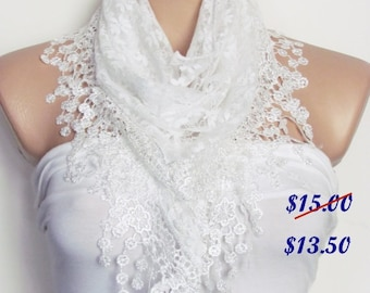 White Lace Scarf With Fringe Shawl Scarf Bridal Accessories Bridesmaids Long Wedding Scarf Women Fashion Accessories Christmas Gift For Her