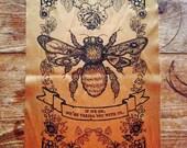 Big Back Patch Honey Bee Nature Print