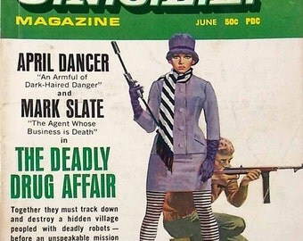 Vintage Girl From Uncle Magazine June 1967 Mid Century TV Show The Deadly Drug Affair April Dance Mark Slate Stephani Powers Noel Harrison