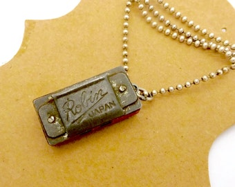 Vintage MINI HARMONICA NECKLACE Sterling Silver Dog Chain Robin Japan Mini Working 2 Slot Toy Harmonica