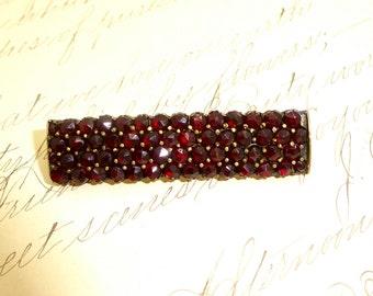 """Antique 14k BOHEMIAN GARNET PIN Brooch Rose Cut Bohemian Garnet Bar Pin 1 7/8"""""""