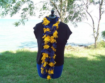 blue and yellow ruffle scarf