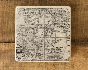 World Map Stone Coasters, Tumbled Marble, Home Decor, Set of Coasters