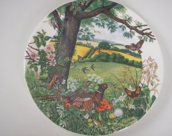 "English china Wedgwood decorative plate ""Meadows and Wheatfields"" pattern"