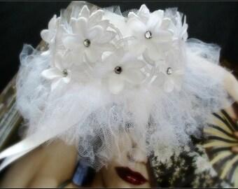 Romantic white feminine night mask flowers paste and guipure