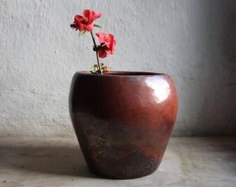 Raku copper vase