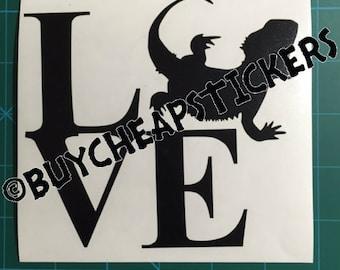 Bearded Dragon Love Decal/Sticker-5x5