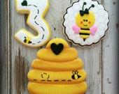 Bumble Bee Cookies - Birthday Cookies - Bee Hive Cookies - Girl Pink Cookies - Custom  Decorated Cookies