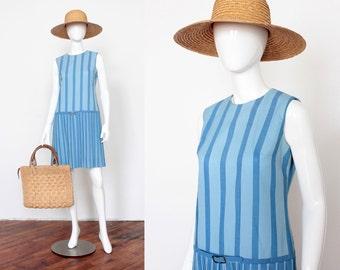 Vintage 1960's Italian Vacation Vibes Mod Striped Cotton Shift Dress