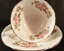 Footed Cup & Saucer Set Harleigh England Bone China Ribbed Pink Floral Blossom