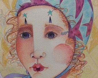 Sale Fine Art Original Drawing Berta Zimdars Melodia's Rhyme Colored Pencil Prismacolor